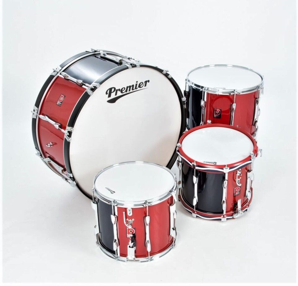 premier military series bass drums finished in red blue the marching band shop. Black Bedroom Furniture Sets. Home Design Ideas
