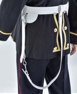 White Gloss PVC, W O s Ceremonial Sword Belt, 45mm width (1 3/4″) with  Chrome finish Fittings