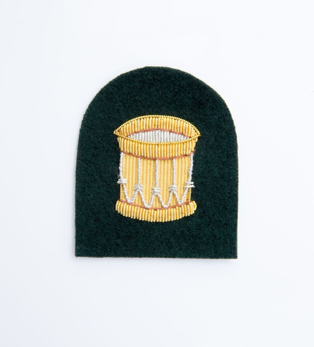 e53da71ecf9 Royal Marines, Gold on Green 'Lovet Suit' Drum Badge - The Marching ...