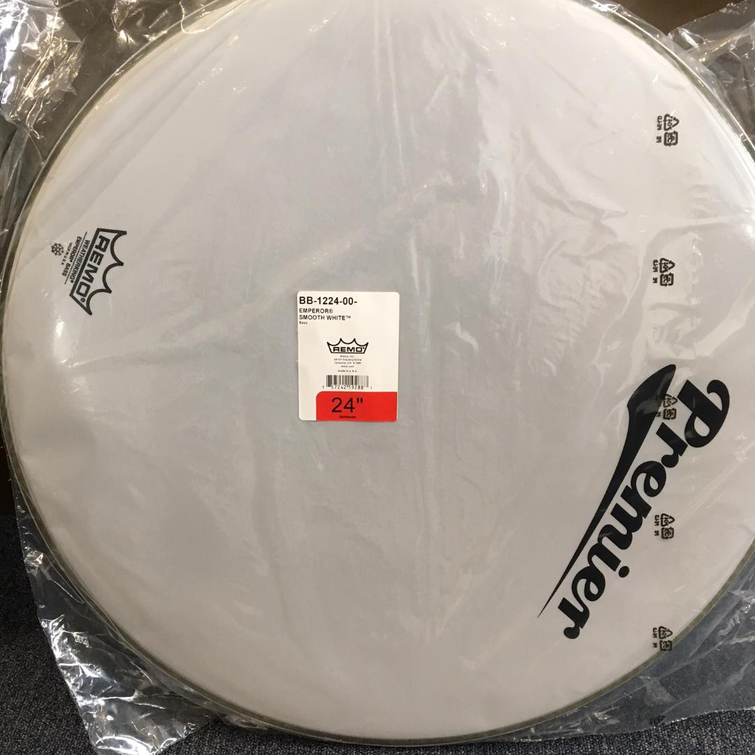 Remo 24inch Emperor Smooth White Bass Drum Head with Premier Logo on