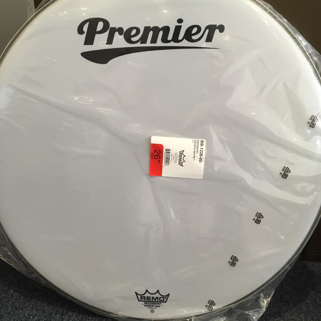 Remo 26inch Emperor Smooth White Bass Drum Head with Premier Logo on